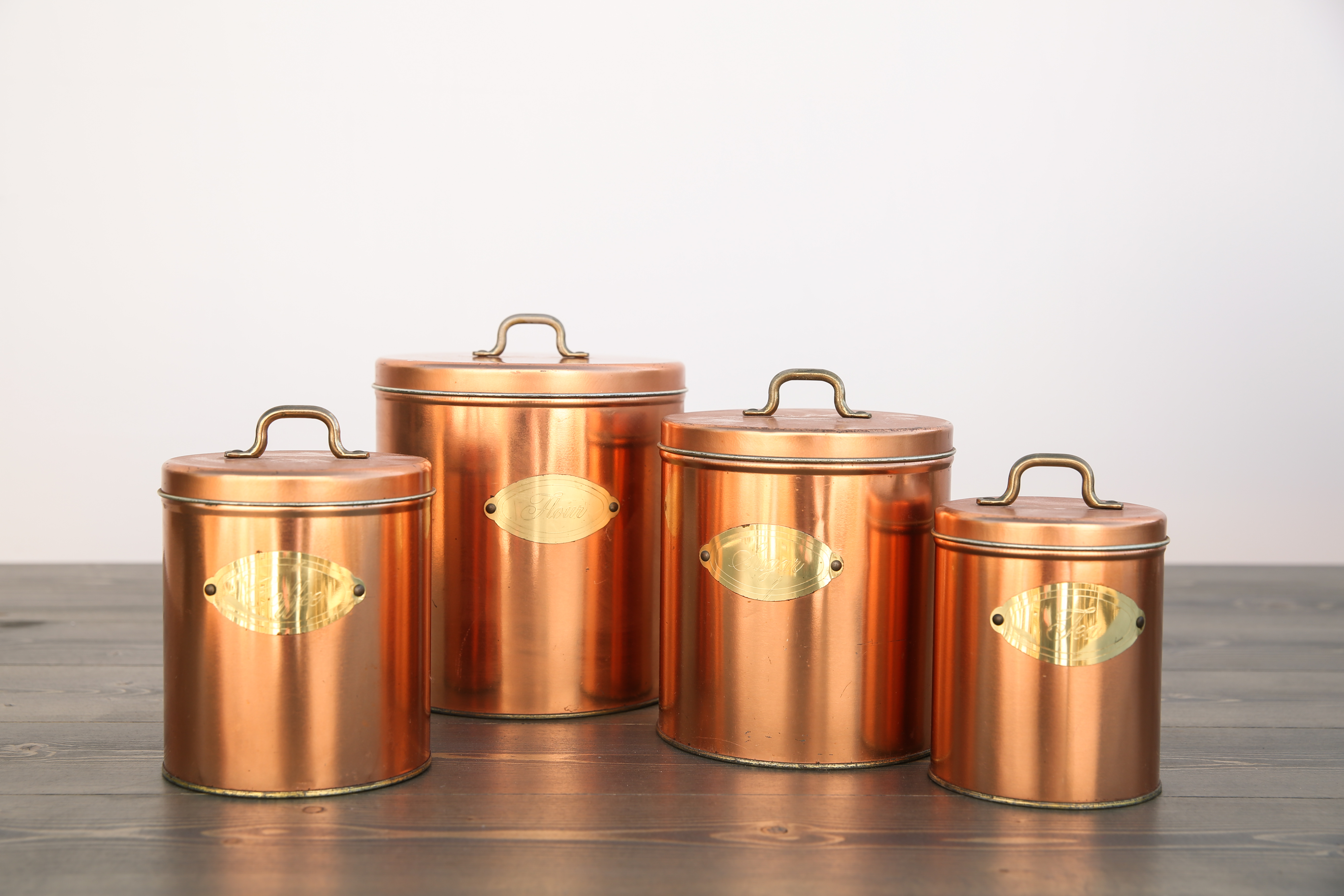 Set of Vintage Copper Containers Out Of The Dust Rentals