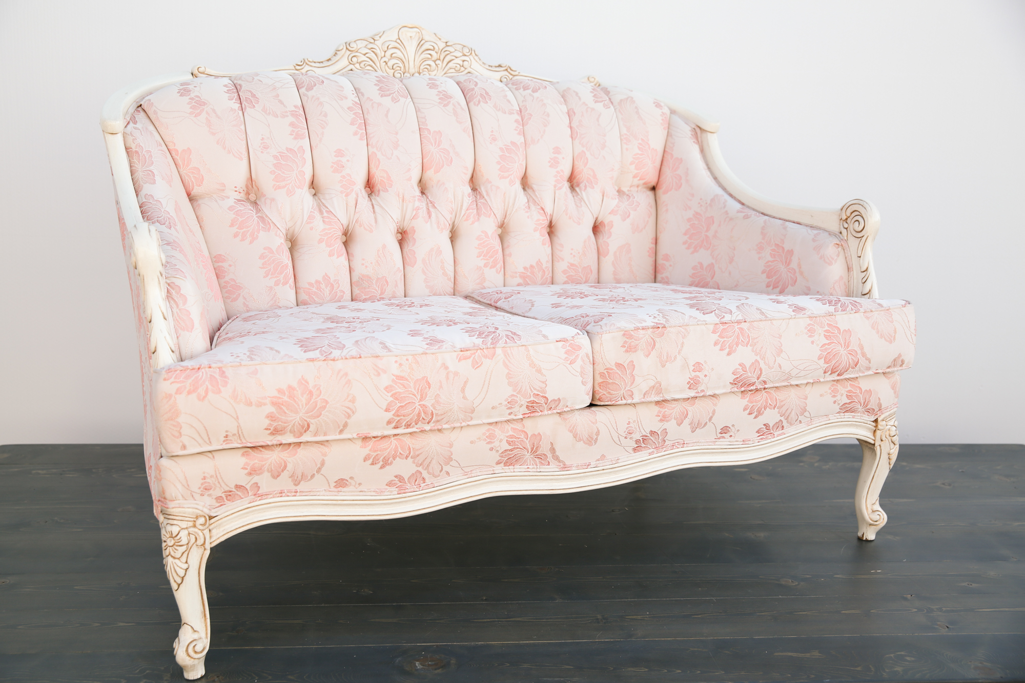 Blush Pink Settee Out Of The Dust Rentals
