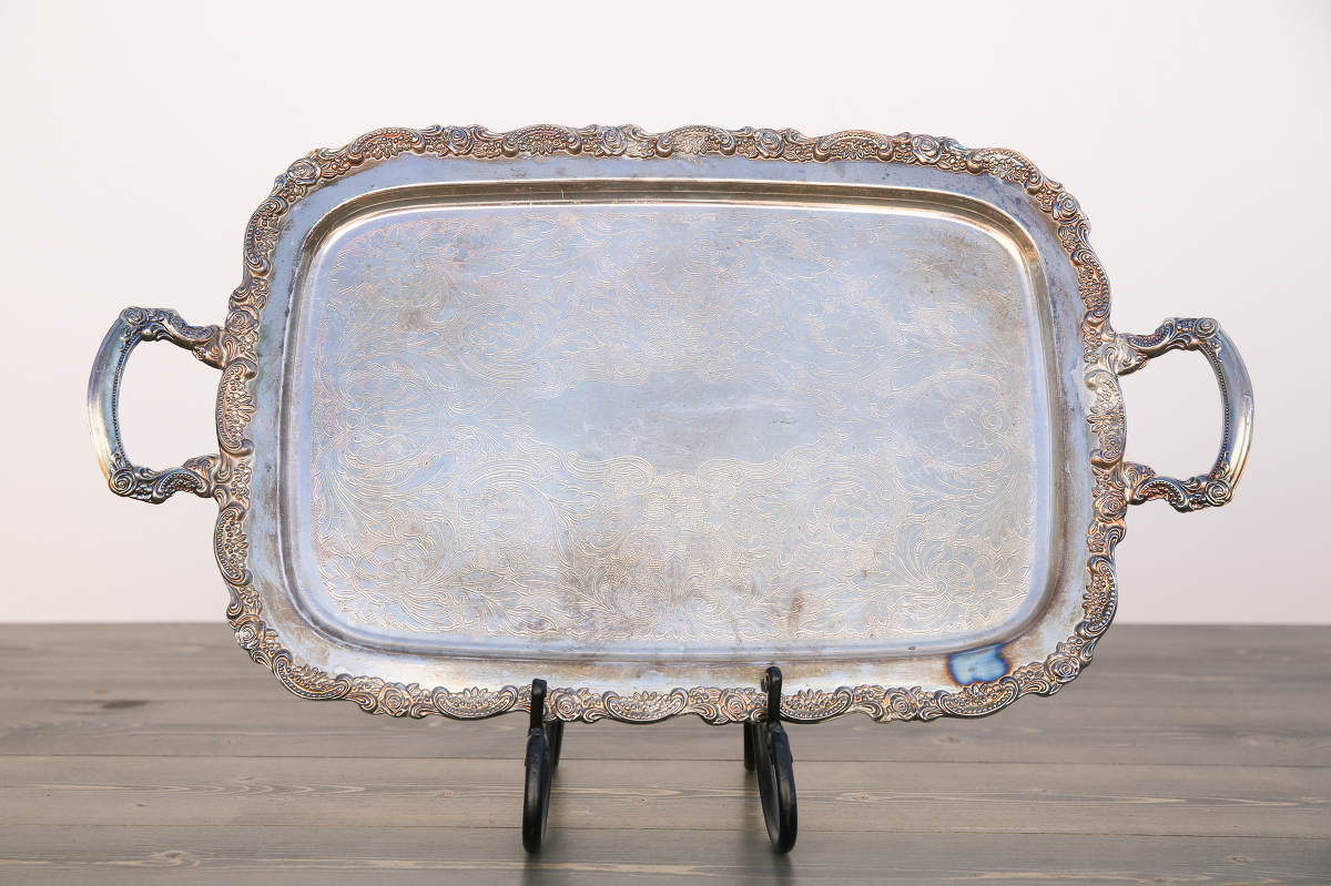 Large Vintage Silver Tray With Handle Out Of The Dust