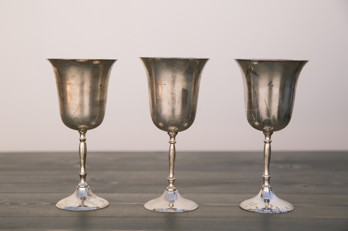 Vintage Silver Plated Metal Goblets Out Of The Dust Rentals