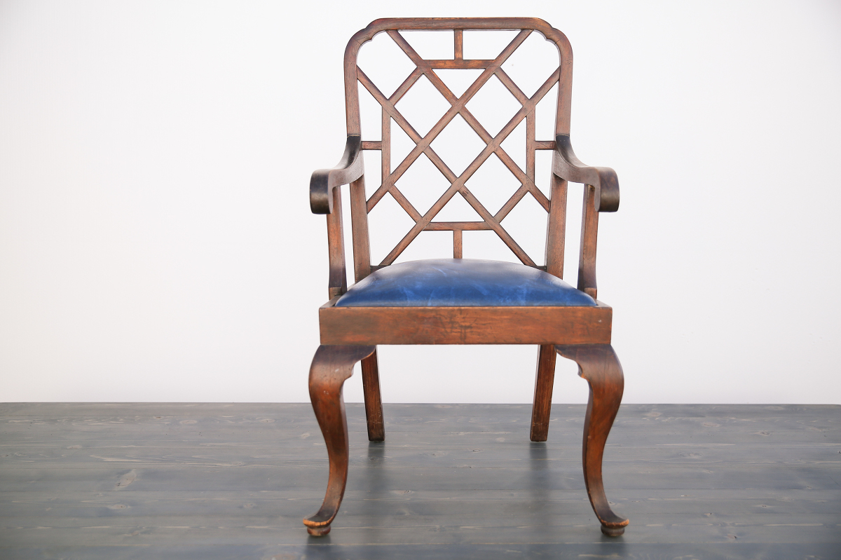 Cherry Wood Art Deco Chair - Out Of The Dust Rentals